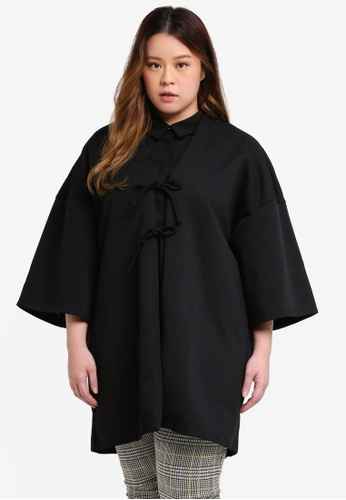 ELVI black Plus Size Lacquer Bonded Jersey Texture Kimono With Double Ties 294EDAAE22ED75GS_1
