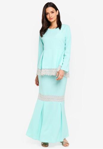 Aqeela Muslimah Wear green Qhalisha Peplum Lace Kurung C07DBAAB30E001GS_1