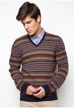Jaquard Stripe V-Neck Sweater