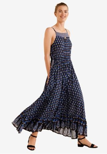Mango blue and navy Printed Bow Dress 40995AA9F8C5EFGS_1
