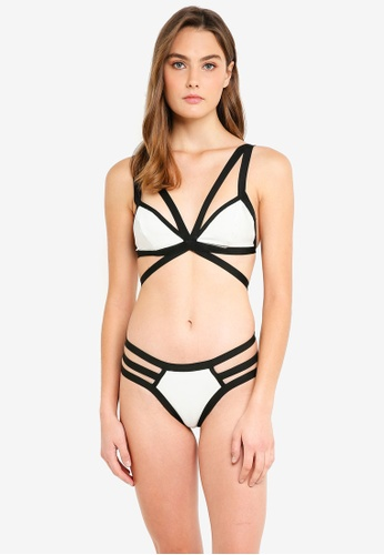 475497b0d8 MISSGUIDED white Strappy Bandage Plunge Bikini 084D2US8BFD854GS 1