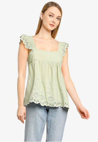 Forever New green Eliza Embroidered Babydoll Tank Top 43069AACB0B8EDGS_1