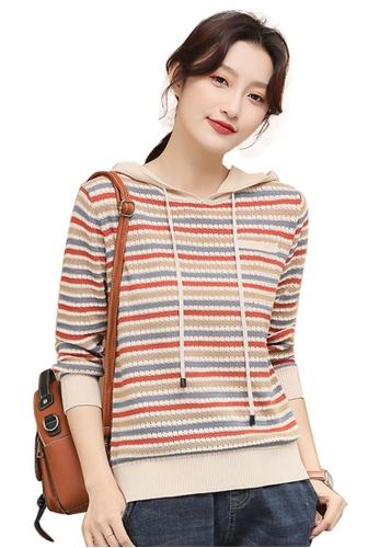 A-IN GIRLS multi Fashion Contrast Striped Hooded Sweater AA16CAA0F45FEBGS_1