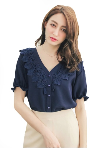 Yoco blue Lace Back Tie V Neck Blouse FC560AAFA3B9D2GS_1