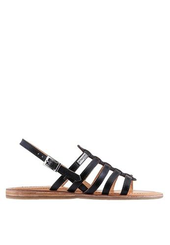 Les Tropeziennes Par M. Belarbi black Havapo Black Multi Strap Leather Sandals BE67ASH8B65626GS_1