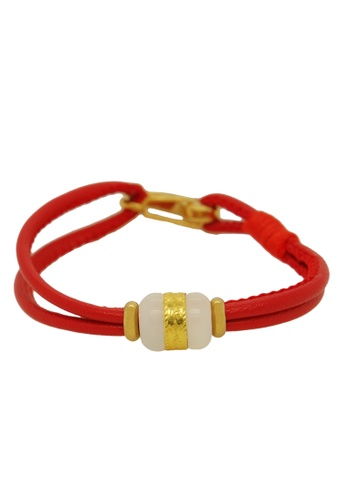 LITZ white and red [SPECIAL] LITZ 999 (24K) Gold and Jade Charm with free red bracelet EA49BAC066C0A5GS_1