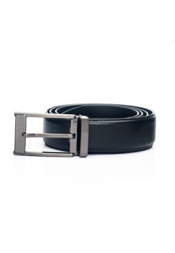 ENZODESIGN black Dark Nickel Rectangular Pin Buckle Miniacqua Leather Belt EN357AC0F582SG_1