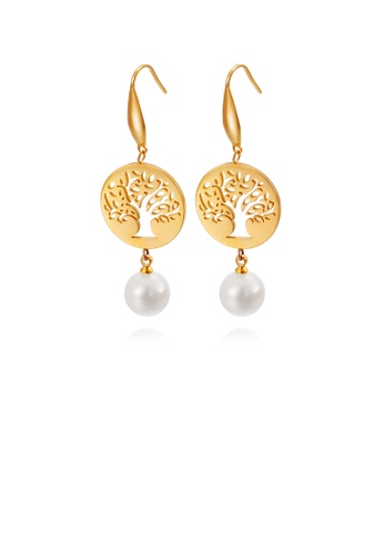 Glamorousky white Fashion and Elegant Plated Gold Round Tree Of Life 316L Stainless Steel Earrings with Imitation Pearls A0959AC0B000F3GS_1