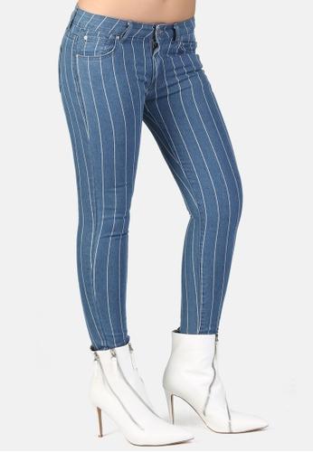 London Rag blue White Striped Skinny Jeans D1F07AA89ED8B6GS_1