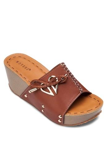 金屬飾繫帶楔形esprit 品牌涼鞋, 女鞋, 鞋