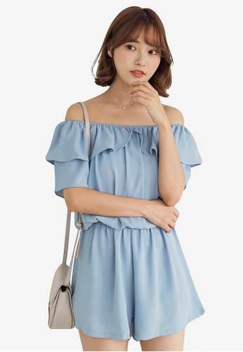 Tokichoi blue Off Shoulder Flounce Neck Romper 601C3AAC847990GS_1