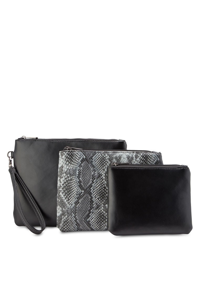 Coloured Snakeprint3 In 1 Pouch