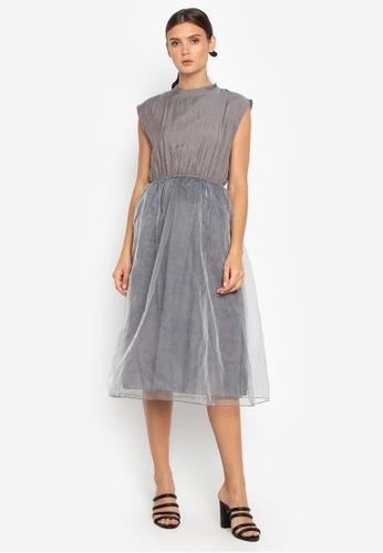 Susto The Label grey Gala Tulle Dress 16F68AA4BD7532GS_1