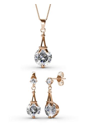 Her Jewellery gold Swarovski® Crystals - Paris Set (Rose Gold) (18K Rose Gold Plated) Her Jewellery HE581AC0RB1EMY_1