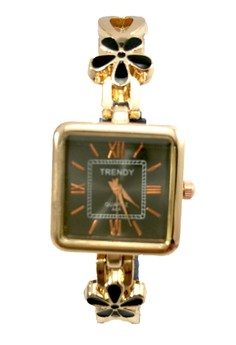 Trendy Square Shape Ladies Watch With Stainless And Silicone Strap