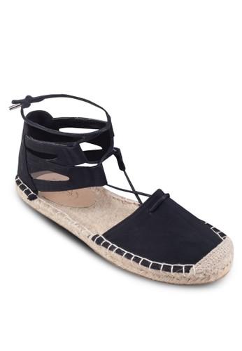 Katniss 側空繞踝麻編平底鞋, 女zalora 台灣鞋, 鞋
