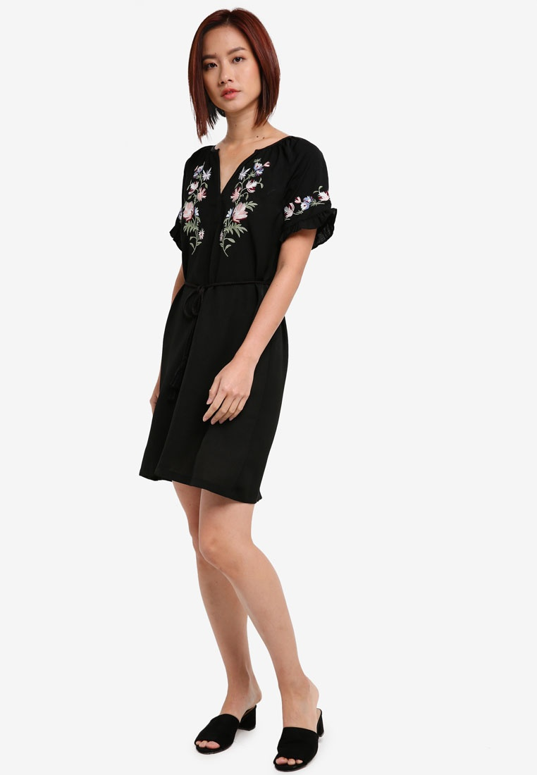 Sleeve Embroidered Dress Raglan ZALORA Black Tfpwnxqd