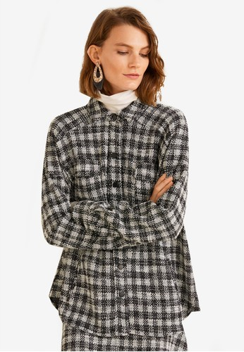 MANGO black and white Check Tweed Shirt E8537AA05D2C2FGS_1