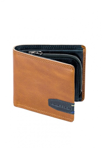 ENZODESIGN brown and navy Top Grain Leather Sporty Wallet With Zip Coin Compartment CE9CFACCAE2FBDGS_1