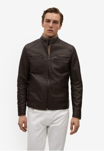 MANGO Man brown Faux-Leather Biker Jacket 11204AA669F606GS_1