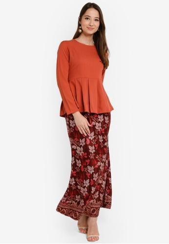 Box Pleat Peplum Kurung from Aqeela Muslimah Wear in Orange