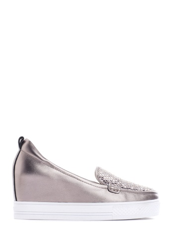 PAZZION brown Metallic Wedge Sneakers EAC55SHD7B9974GS_1