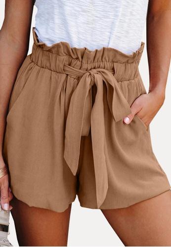 Twenty Eight Shoes brown VANSA Simple Lace-up Wide Leg Shorts   VCW-St3384 890FDAA37BDA06GS_1