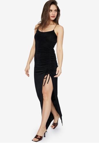 Supre black Chantel Ruched Chain Maxi Dress 9EA05AA88FD073GS_1