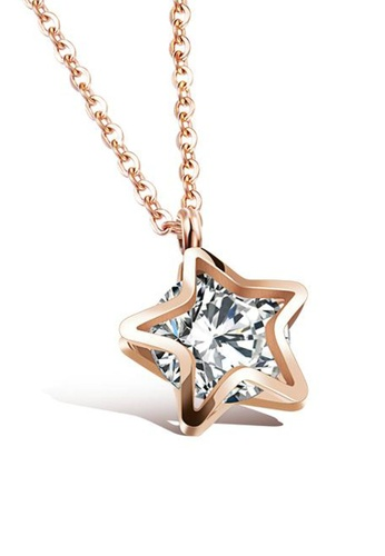 CELOVIS gold CELOVIS - Avvia Star Frame Zirconia Necklace in Rose Gold 2C454ACAB4DF1EGS_1