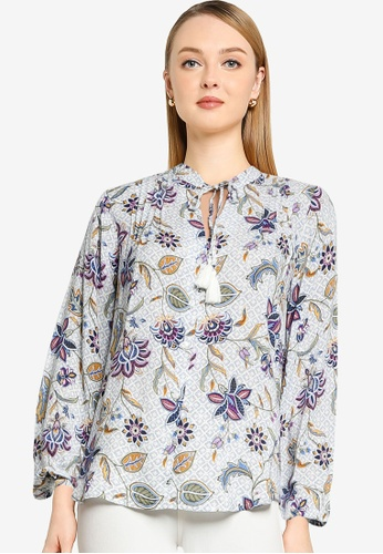 Springfield white Floral Blouse 110B3AA719B80AGS_1
