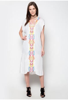 Embroidered Long Dress White