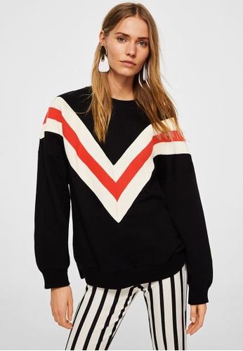 Mango black Striped Oversize Sweatshirt E3AC8AA3BB4359GS_1