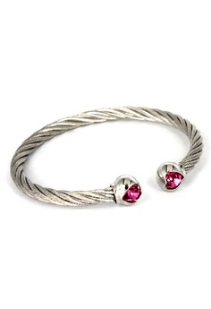 Paris Bijoux BB10349A Rhodium Plated Bangle - Crystal /Rose