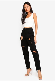 0909f506efa 40% OFF MISSGUIDED Riot High Rise Ripped Denim Mom Jeans RM 169.00 NOW RM  100.90 Sizes 6 8 10 12 14