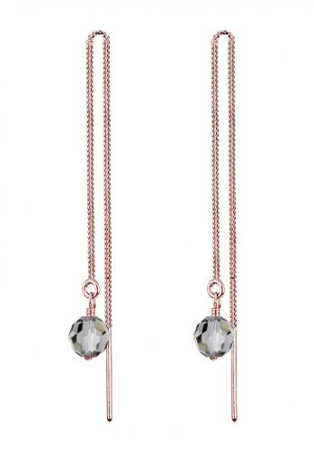 Elli Germany gold Perhiasan Wanita Perak Asli - Silver Anting Chain Crystal Rosegold Plated 0BD64AC3C28DF0GS_1