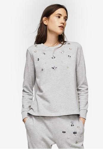 Mango grey Crystals Cotton Sweatshirt F4B5EAA5854851GS_1