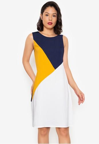ZALORA WORK multi Basic Triangle Colourblock Dress C9191AAFB393E7GS_1