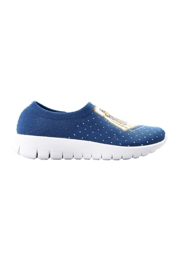 F-KNIT blue Ladies Slip-On Tassel Sneaker FK273SH71XEMHK_1