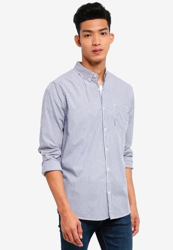 Cotton On 白色 and 海軍藍色 休閒格紋襯衫 FE4BDAA219FB6BGS_1