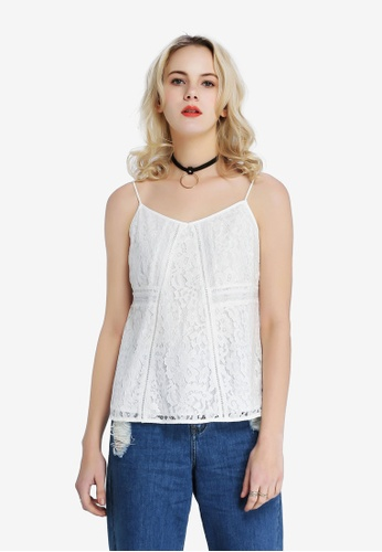 Hopeshow white Lace Spaghetti Blouse 692F7AAFF98D71GS_1