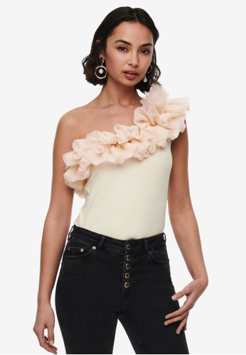 ONLY beige One Shoulder Tulle Top 5193DAA511F9D2GS_1
