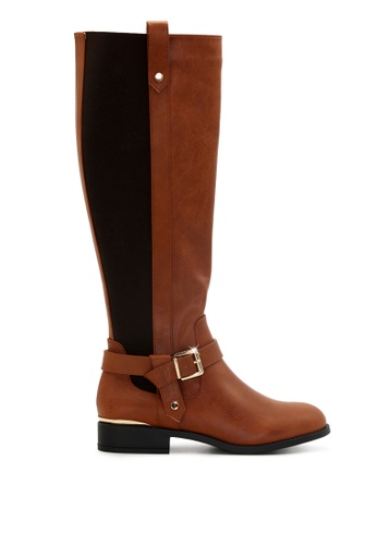 London Rag brown Knee High Boots with Adjustable Buckle SH1714 5FDC1SH4287804GS_1