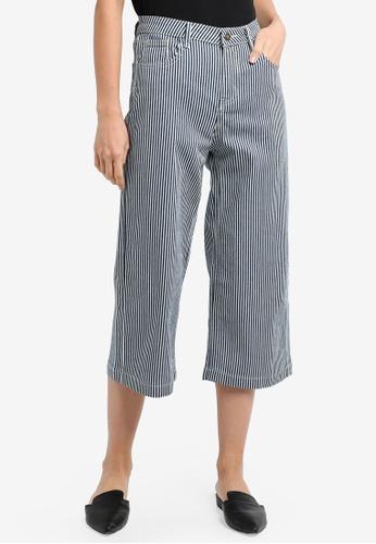 ZALORA navy Midrise Cropped Wide Leg Jeans 86145AA4F91A1AGS_1