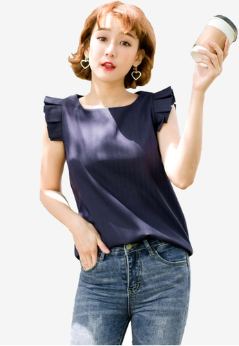 Tokichoi navy Pleated Detail Sleeveless Blouse EA50CAA9C901C0GS_1