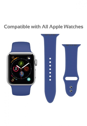 Promate blue Sporty Silicon Watch Strap for 38mm & 40mm Apple Watch with Double Lock Pin 2F4DEACDADA3D4GS_1