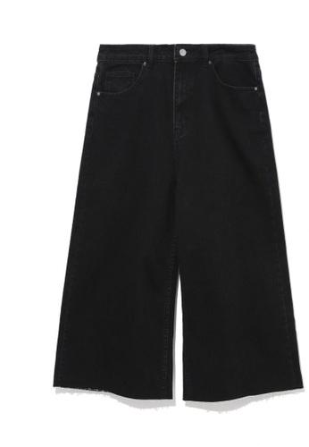 tout à coup black Frayed 3/4 jeans 425FFAA3E1229EGS_1