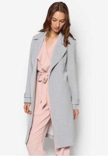 大翻領長esprit taiwan版腰帶大衣外套, 服飾, 服飾