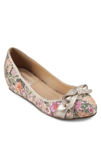 蝴蝶結印zalora 心得花內增高娃娃鞋, 女鞋, 鞋