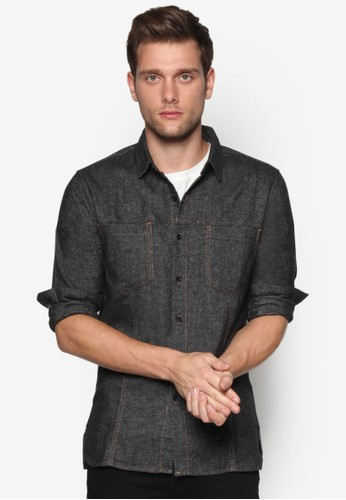 撞色縫esprit au線棉質長袖襯衫, 服飾, 素色襯衫