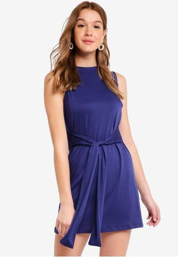 ZALORA BASICS navy Basic Tie Waist Mini Dress E3091AA99669D5GS_1